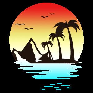 Sommer Strand Sonnenuntergang Berge Palmen