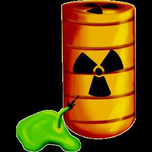 Giftiges Atommüll Fass hat ein Leck Radioaktivität