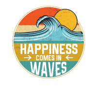 Happiness Comes In Waves Cool Vintage Surfer