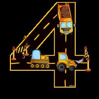 Geburtstag 4 Jahre Bagger, Baumeister T-Shirt Vier