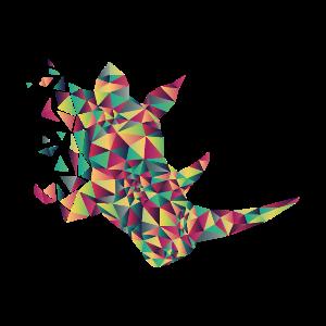 Nashorn geometrisch, origami, bunt