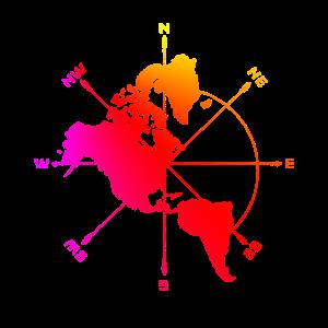 Amerika Karte in Bunt Geschenkidee mit Kompass