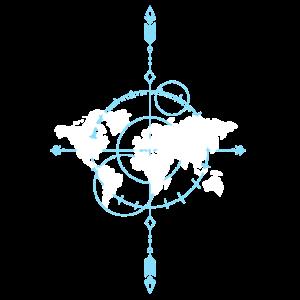 Tolle Weltkarte mit Kompass Geschenk für Reisende