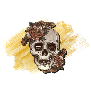 Edler Totenkopf mit goldenem Hintergrund