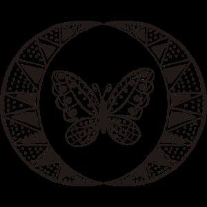 Butterfly Boho Schwarz Weiß Illustration