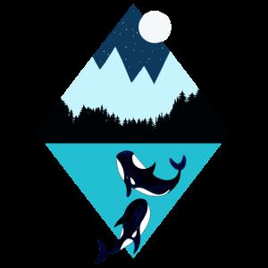 Berge, Fjord und Wale bei Nacht I Design Geschenk