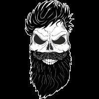 Schwarzer Bart Haare mit einem coolen Totenkopf