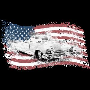 Cadillac Oldtimer Auto USA Amerika Fahne Cabrio