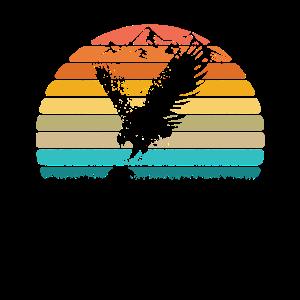 Vintage Retro Hawk Silhouette Sun Bird Lover Gift
