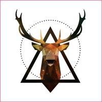 Hirschgeweih Dreiecke Poster Hochformat