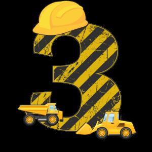 3. Geburtstag Bagger 3 Jahre Bauarbeiter Geschenk