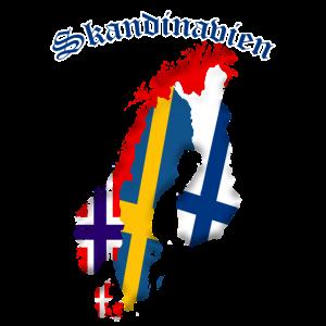 Skandinavien- Landkarte Umriss Flagge