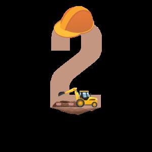 Bagger Bauarbeiter Kind Geburtstag Junge 2 Jahre