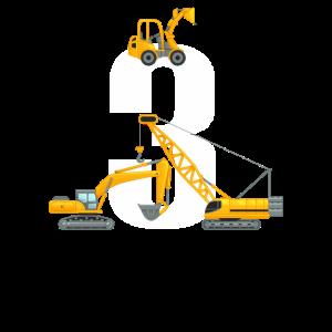 Baggerfahrer Bauarbeiter 3. Geburtstag Geschenk