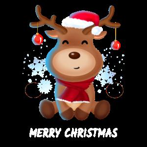Rentier mit Mütze Frohe Weihnachten Geschenk