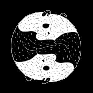 Ying Yang Yin Panda Bär Yoga Meditation Geschenk