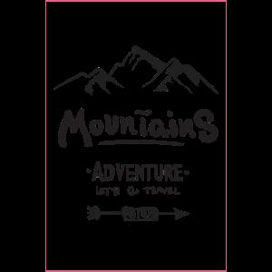 Berge. Abenteuer. Lass uns auf Reisen gehen. Wilde.