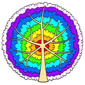Baum, rund, Regenbogen heller