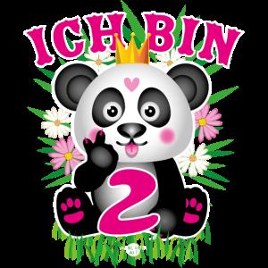 06 Baby Panda Ich bin 2 Pink Finger Bambus Blumen