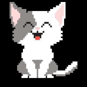 Katze CAT Pixel Gaming Humor lustig Miau Geschenk