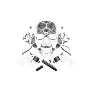 Skull with pistols and roses
