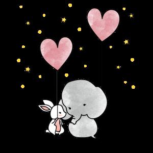 Häschen Elefant Freundschaft Herz Ballons Shirt