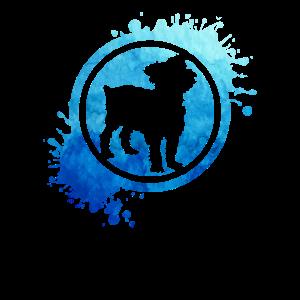 Yorkshire Yorkie Hund Stempel blau Splash Geschenk