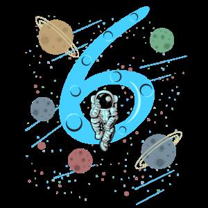 Kinder 6. Geburtstag Shirt Astronaut Jungen