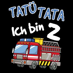 Kinder 2. Geburtstag Feuerwehrauto Shirt Jungen