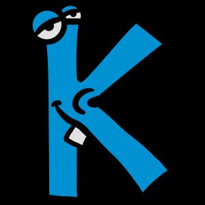 Buchstabe K Comic Gesicht Lustig Monster