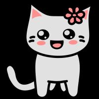 Kawaii Kitteh mit Blume am Ohr
