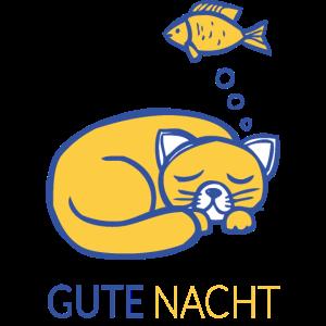 GUTE NACHT Shirt mit Katze und Fisch