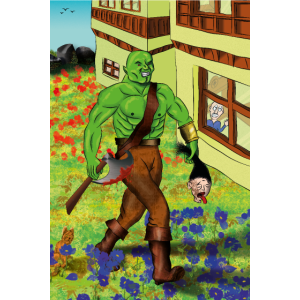 Brutaler Ork bei friedlicher Ortschaft