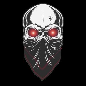 Maskierter Totenkopf mit leuchtenden Augen