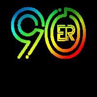90er Jahre Fan Design mit bunten Farben