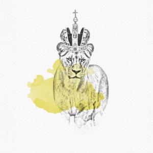 Löwin mit Krone - Zeichnung Poster