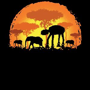 Elefant Elefanten Safari Sonne AT AT Geschenk