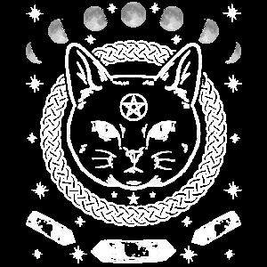 Katze Katzen Gothic Mond Goth Pentagramm Geschenk