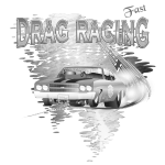 Drag Racing T-shirt in black & white