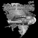 Drag Racing T-shirt in black & white