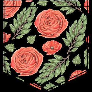 Rose Hemdtasche Pocket Pochette Geschenk
