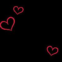 Koch, Kochmützen Logo mit drei Herzen.