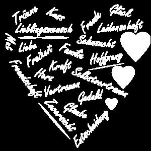 Herz aus weißer Schrift - Geschenk