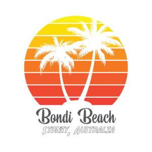 Bondi Beach Australien Logo mit Palmen