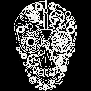 Bicycle Skull line art  light grey for dark shirts