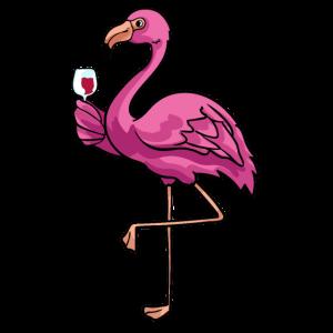Flamingo Wein Alkohol Tierliebe Lustig Geschenk