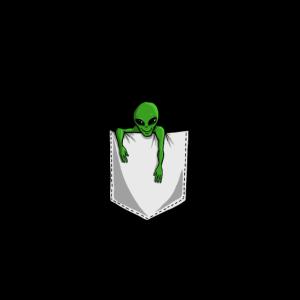 Alien in der Brusttasche