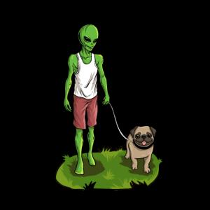 Mops Gassi Gehen Ausserirdischer Alien