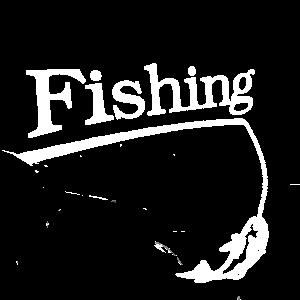 Fishing Schriftzug mit Angel und Fisch Geschenk