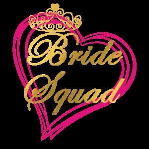 Bride Squad mit Krone und Herz